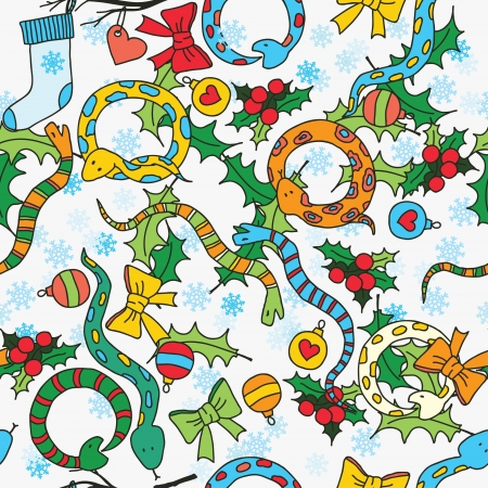 Seamless background with cute snakes, mistletoe and snowflakes for New Year of the snake  Vector