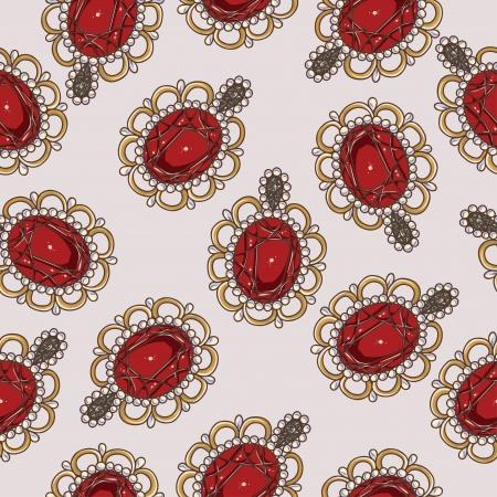 Beautiful seamless pattern with fashion jewelry elements