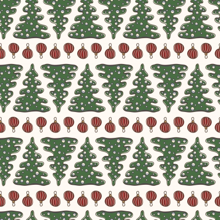 Beautiful seamless pattern with fir tree Illustration