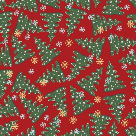 Beautiful seamless pattern with fir tree Vector