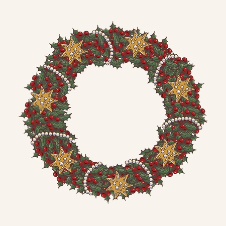 Christmas wreath made from lot of mistletoe on white background with a red bow