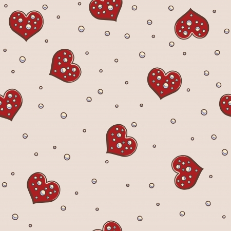 Hearts and pearls seamless background pattern Illustration