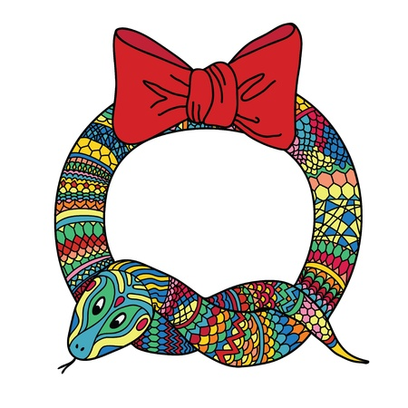New year holidays vector hand drawn illustration with wreath for the year of the snake