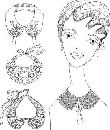Fashion girl in detachable collar