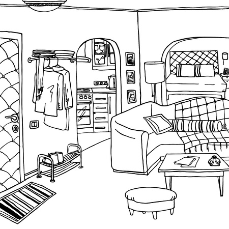 Interior of a bachelor s or single woman room Vector