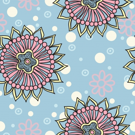 Floral seamless abstract hand-drawn pattern   background  Vector