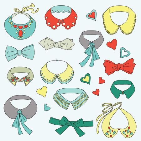 Set of fashion collars and bows, bow ties, accessories and hearts