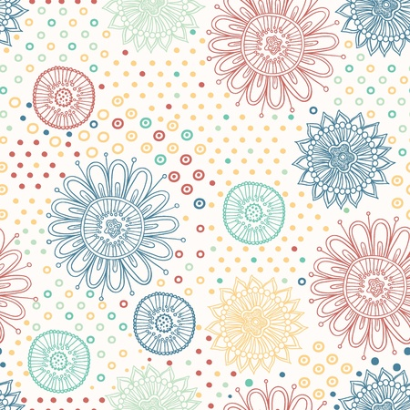 Floral seamless abstract hand-drawn pattern   background Stock Photo - 18734921