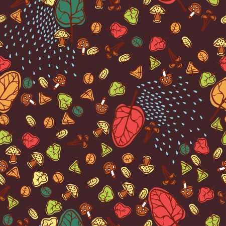Seamless autumn leaves vector background Illustration
