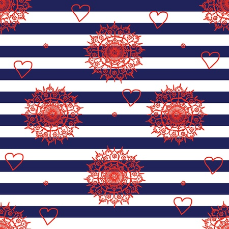 Seamless pattern with navy stripes, flowers and hearts