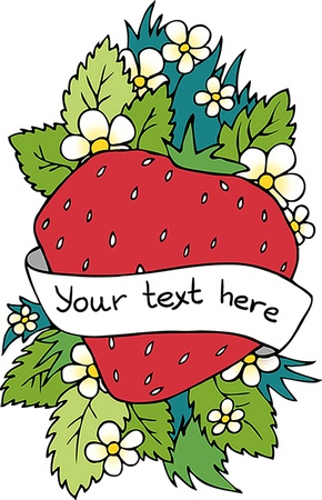 Strawberry greeting card Vector