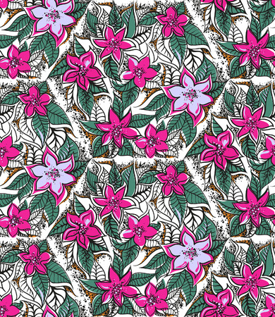 Floral seamless pattern with fucshia and pink tropical flowers. Seamless pattern can be used for paper wrapping, fabric, textile and other various backgrounds and textures. Stock Photo