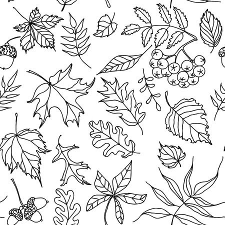 This seamless pattern of black and white autumn leaves will make a great endless background, textile, wrapping paper etc. Illustration
