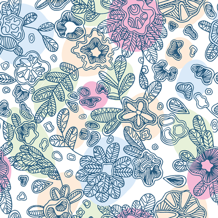 Floral endless pattern will look great on fabric, wrapping paper, any types of textile or other surface design. Vector hand-drawn flowers make a beautiful texture lace pattern.