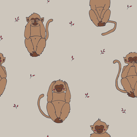 Seamless background withwise monkeys. Endless animalistic pattern. Can be used for textile, wallpaper, surface design, backdrop, wrapping paper textures etc.
