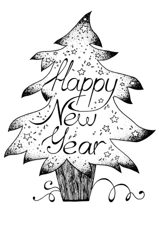 Hand-drawn greetings card Happy New Year, black and white graphic, Christmas tree Illustration