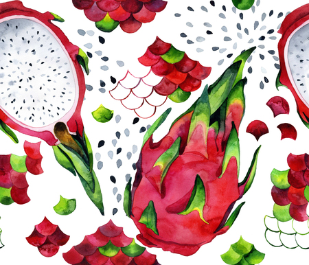 Seamless watercolor pattern with dragon fruits and pitahaya