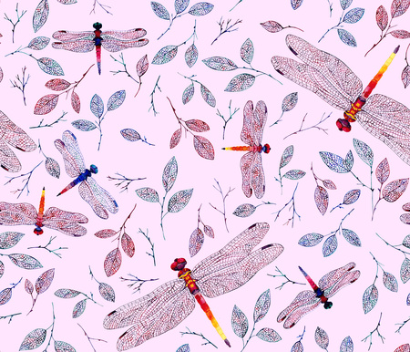 Vintage-inspired oriental pink seamless background with dragonflies and leaves