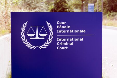 The Hague, Netherlands -june 8, 2018:  Sign of the international criminal court in the hague 新闻类图片