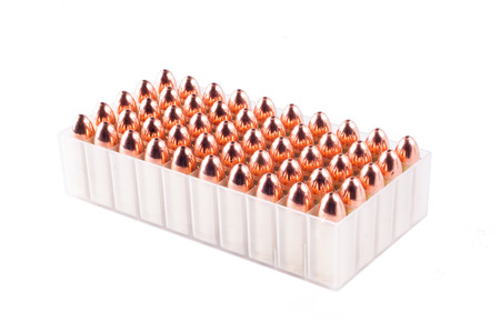 Bullets inside box isolated in white