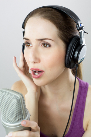 adultery: Woman singing Into Microphone