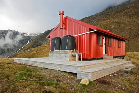 arri�re-pays: Backcountry hutte, Nouvelle-Z�lande Banque d'images