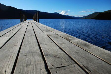 chilling: Pier on the lake Rotoroa, New Zealand
