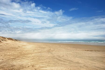 Ninety Mile Beach - official New Zealand highway Stock Photo