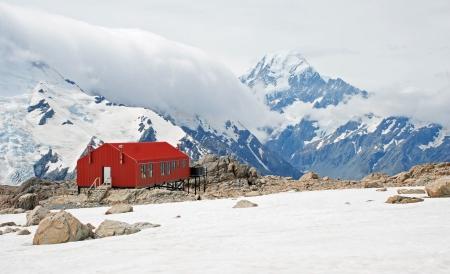 tramping: Mueller hut, Mt Cook national park, New Zealand Stock Photo