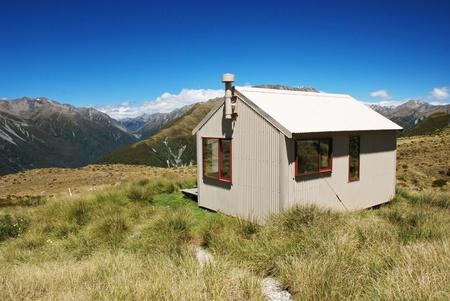 tramping: Backcountry hut, New Zealand