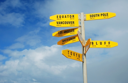 bluff: Signpost in Cape Reigna, New Zealand Stock Photo