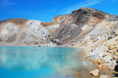 Emerald lakes, Tongariro national park, New Zealand photo
