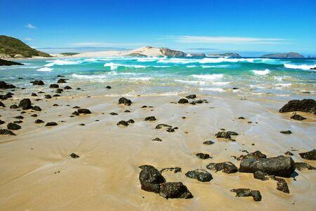new zealand beach: Beach, Cape Reigna, New Zealand Stock Photo