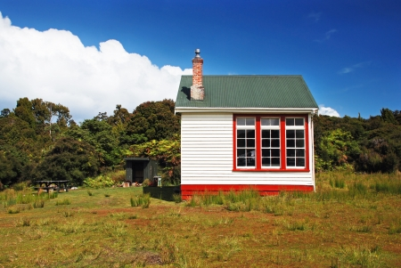 lodge: Backcountry hut made of old school, New Zealand