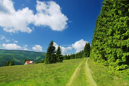 Countryside in Krkonose mountains, Czech republic photo