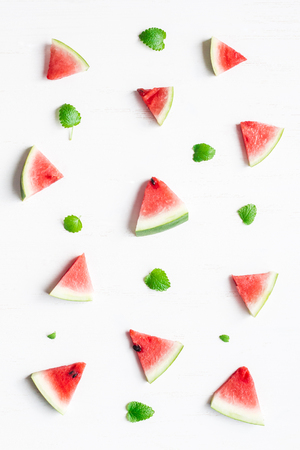Pattern made of watermelon slices on white background. Top view, flat lay Zdjęcie Seryjne