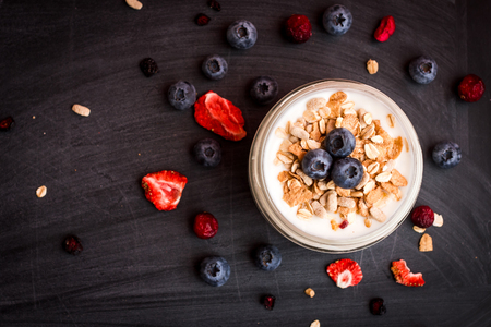 homemade yogurt with granola and berries