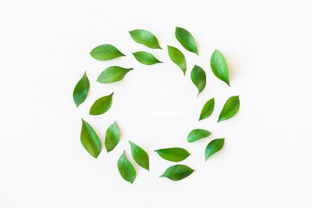 녹색 잎으로 만든 프레임입니다. 리프 패턴. 평평한 평면, 평면도 스톡 콘텐츠