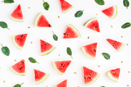 Watermelon pattern. Sliced watermelon on white background. Flat lay, top view 写真素材