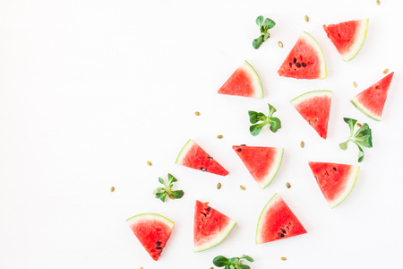 Watermelon pieces. Sliced watermelon on white background. Flat lay, top view
