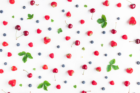Fruit pattern. Fresh fruits on white background. Summer concept. Flat lay, top view