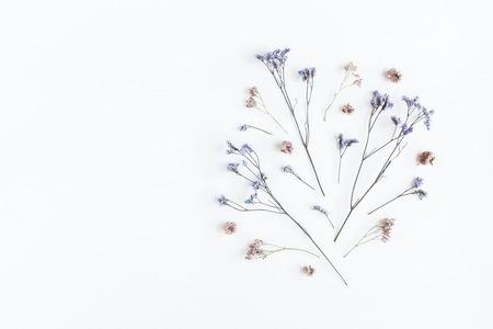 꽃 조성입니다. 패턴 흰색 배경에 말린 꽃의했다. 평평한 평면, 평면도