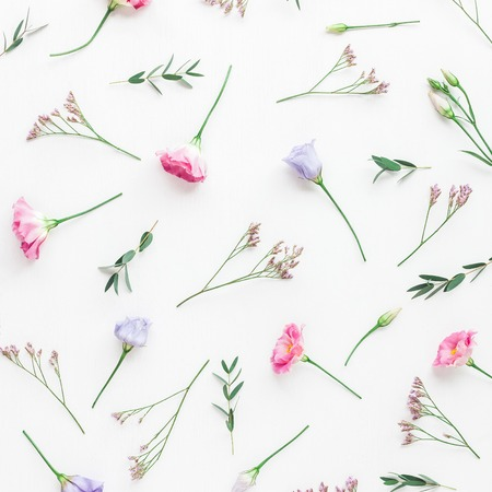 Flowers composition. Pattern made of various flowers and eucalyptus branches on white background. Flat lay, top view Banco de Imagens