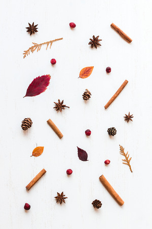 Autumn pattern. Flat lay, top view Stock Photo