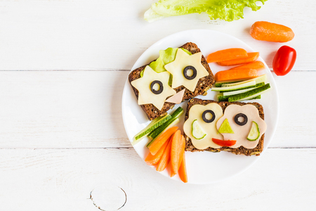 School lunch for kids. Back to school. Top view, flat lay