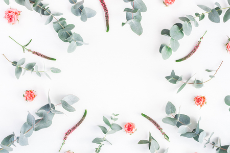 Flowers composition. Round frame made of rose flowers and eucalyptus branches on white background. Flat lay, top view, copy space Stock Photo
