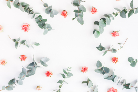 Flowers composition. Round floral frame made of rose flowers and eucalyptus branches on white background. Flat lay, top view, copy space