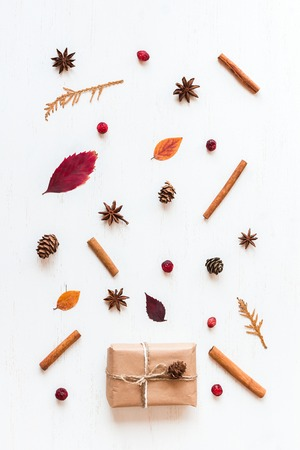 autumn pattern, gift, top view, flat lay Stock Photo