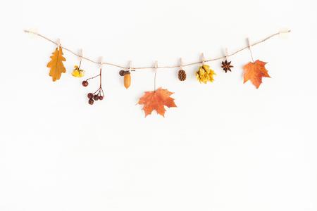 Herfstsamenstelling. Herfst bloemen en bladeren, eikel, pijnboomkegel, anijsster. Platte lay, bovenaanzicht, kopieer ruimte