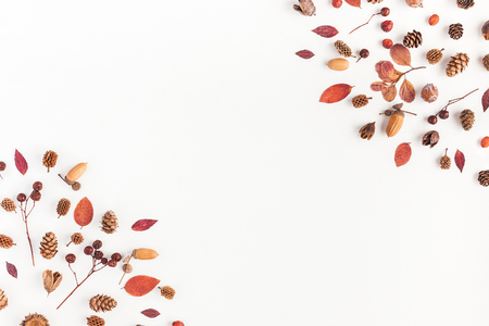 Autumn composition. Frame made of autumn leaves, acorn, pine cones on white background. Flat lay, top view, copy space